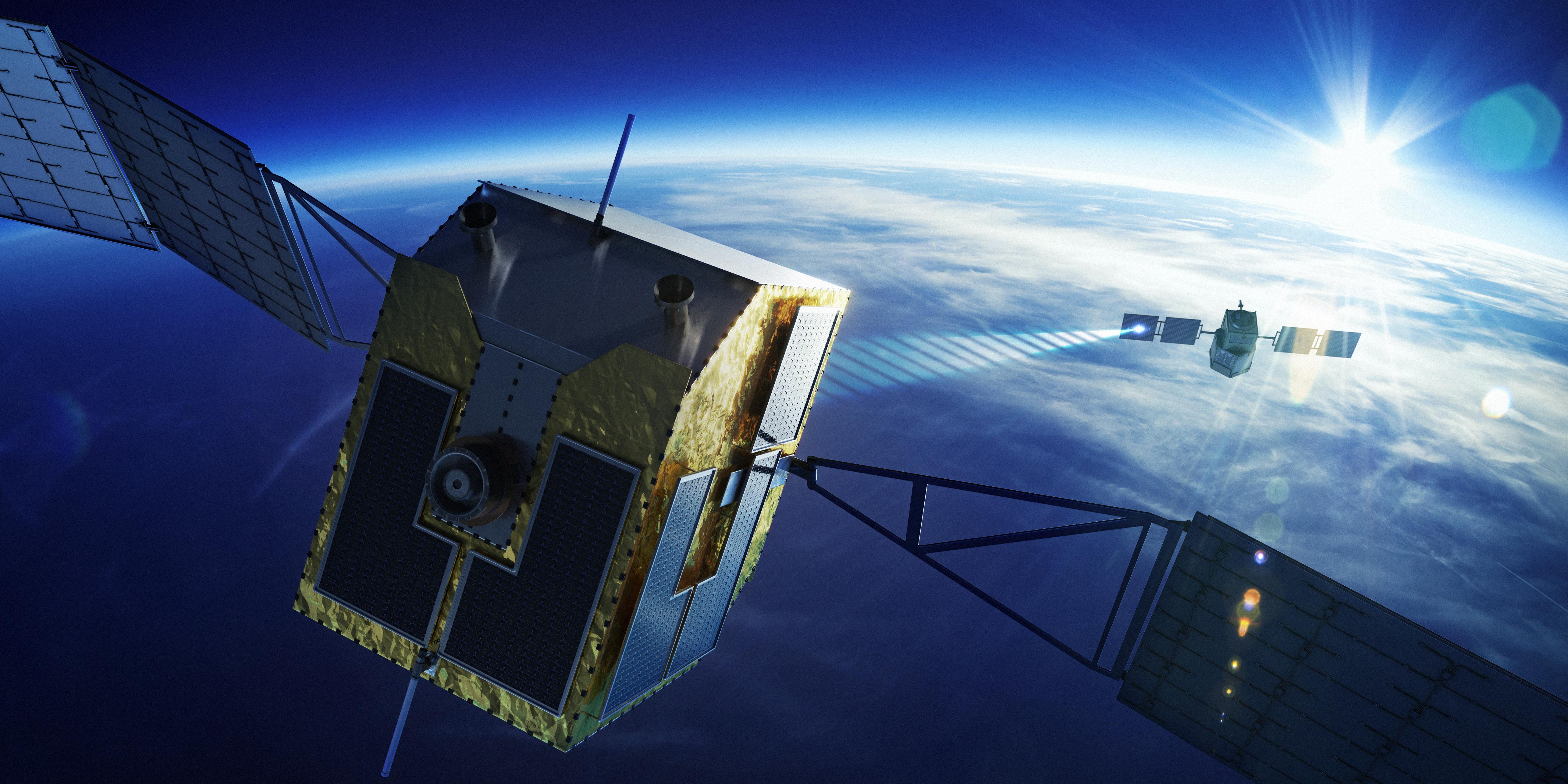 レーザーによる宇宙ごみ除去(イメージ) 提供:スカパーJSAT
