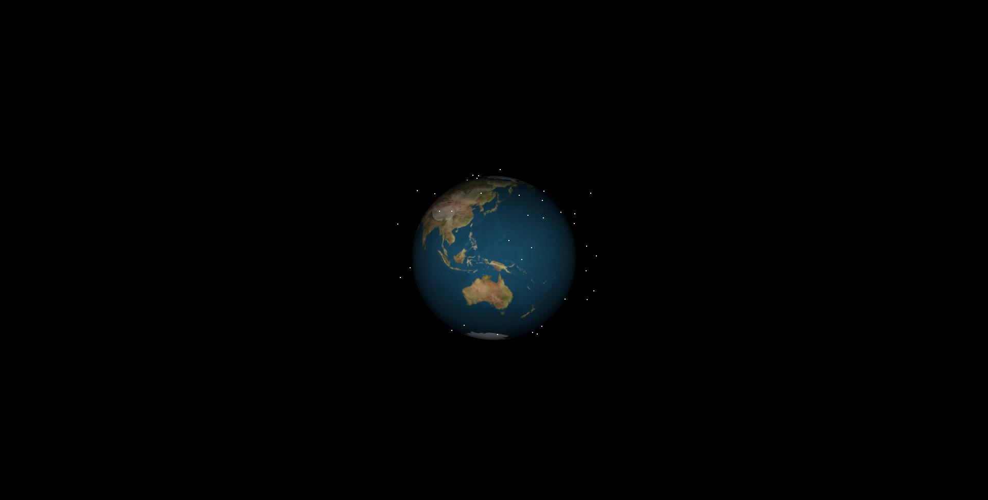 地球を取り巻く宇宙ごみのイメージ 1960年(C)九州大学 (C)スカパーJSAT