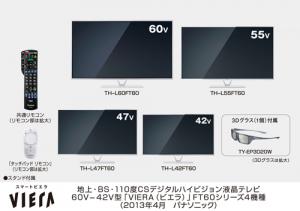 パナソニック,液晶TV 4機種,プラズマTV 4機種を発売