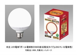 日立アプライアンス,ボール電球形LED電球を発売