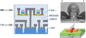 産総研,多結晶Geによる3次元積層集積回路のための積層CMOSの開発に成功